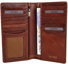 VISCONTI Mens Tan Leather RFID  Long Jacket Wallet - Gift Boxed - TSC45