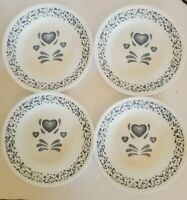 4 - CORNING CORELLE - BLUE HEART SPONGE-  BREAD / DESSERT / SIDE PLATES