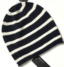 M&S Marks Autograph Luxe NavyBlue Stripe Pure Cashmere SuperSoft Beanie Hat BNWT