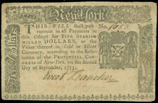 NY-180 5 Pound New York Colonial Currency! Sep 2 1775, Wonderful Item garyposner