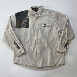 Mossy Oak Men's Size XL Shirt Camo Khaki Button Down Hunting Outdoor Camouflage