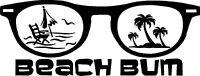 BEACH Bum Sunglasses Decal Sticker Ocean Window Windshield saltwater Palm tree