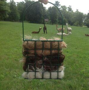 Alpaca Fiber Bird Nester 100% with refill alpaca ready to hang nesting material