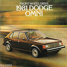 1981 DODGE OMNI Dealer Sales Brochure / Catalog w/ Color Chart: Euro-Sedan,MISER