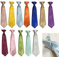 Satin Clip On Tie for Boys Children School Kids Wedding Prom Uniform Gift UK