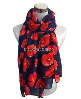 Red Poppy Print Floral Ladies Fashion Scarf Wrap Sarong Long Soft Warm UK