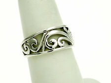 Sterling Silver Band Ring with Fancy Cutout Scroll Design Size-7