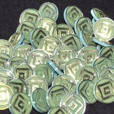 Mercerie Lot de 5 boutons vintages plastique vert inclusion doré 14mm button