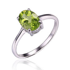 1.3ct Gorgeous Genuine Oval Peridot Solid Sterling Silver Ring Size 6 Ladies