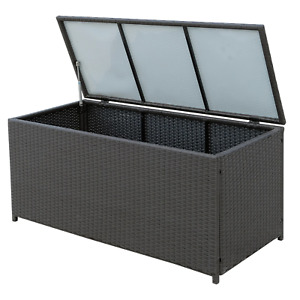 Large Rattan Storage Box 377L Outdoor Cushions Trunk Toys Chest Garden Furniture