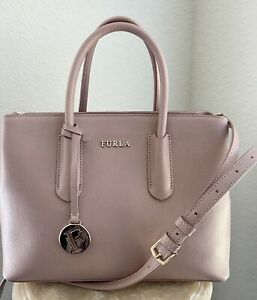 Furla Leather Structured Satchel - Crossbody Bag Moonstone/Blush Color