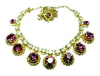 Vintage 1950s dainty pink & clear glass paste rhinestone gold tone necklace
