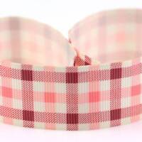 2 METRES RED & PINK CHECKED DESIGN 25mm GROSGRAIN RIBBON SCRAPBOOK HAIRBOWS 5484