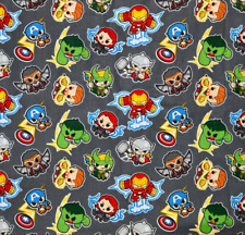 Marvel Avengers Mini Heroes Action on Grey 100% Cotton Fabric FAT QUARTER