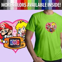 Nintendo Game Boy Mario Princess Peach Love Heart Unisex Mens Tee Crew T-Shirt