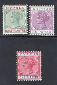 1894-96 Cyprus. SC#28-30. SG#40-42. Mint, Lightly Hinged, VF.