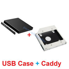 USB 2.0 CD DVD RW External Enclosure Case + Sata 2nd HDD SSD HD Hard Drive Caddy
