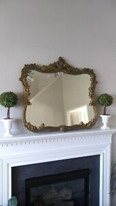 Antique LARGE Ornate Wood Gold Gilt Mirror rare DETAIL shabby chic victorian