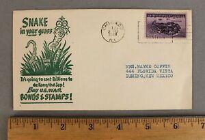RARE 1944 DR SEUSS WWII War-Bonds JAP SNAKE IN GRASS 1st Day Cover Envelope