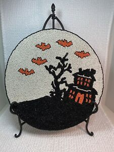 """NEW Set2 CYNTHIA ROWLEY 15"""" Round Glass Beaded Haunted House Halloween PLACEMATS"""