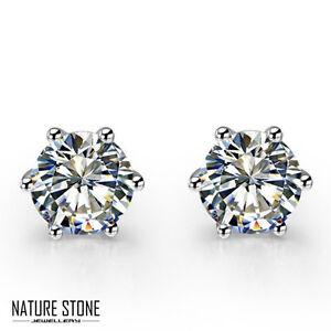 Round Shaped Natural Diamond White Fire Topaz Gemstone Silver Stud Earrings