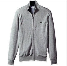 NEW Lacoste Men's Full Zip Jersey Sweater - Choose Silver Chine Color