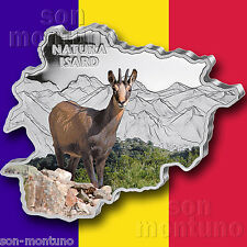 CHAMOIS - 2013 Andorra - MAP SHAPED Colorized SILVER Antelope COIN in Box & COA