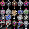 Newest Wedding Bridal Colorful Rhinestone Crystal Pearl Flower Broach Brooch Pin