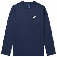 New Nike Mens Navy Long Sleeve 100% Cotton Training Shirt Athletic Sz M