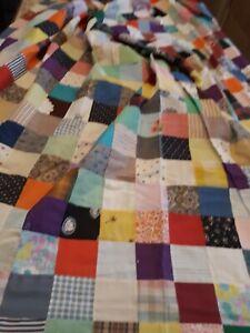 Vintage antique quilt squares top 86 x 90  stitched flour sack?