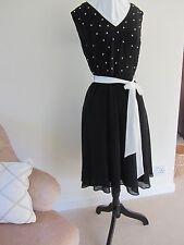 Magnifique BNWT Kaliko Noir soirée robe de bal de perles Taille 8 Coupe Sz 10