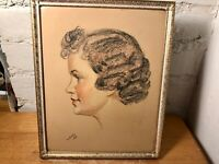 Vintage Mid-Century Pastel Painting of a Young Girl Child 1948 Framed & Signed