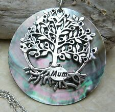FAMILY TREE CIRCLE LIFE Mother Of Pearl Shell Mum Day Birthday Necklace Celtic