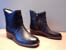 Vintage 1970s Black Booties Waterproof Rubber Rain Snow Galoshes Fleece Boots 7