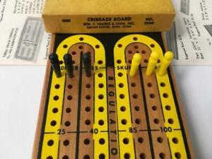 Vtg Drueke Cribbage Board Regulation Track w Original Box Pegs Instructions 2050