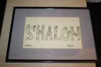"""SHALOM"" Original Yid-Nicks Signed Betty Levick 1974 Youngstown Ohio Jewish Art"