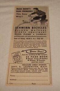 1953 SCHWINN bicycle ad ~ Make Money!  Earn Premiums! ~ Treasure Chest Studios