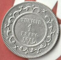 1911 (1329) Tunisia 1 Franc- 83.5% AG -In Pretty Nice Condition~~