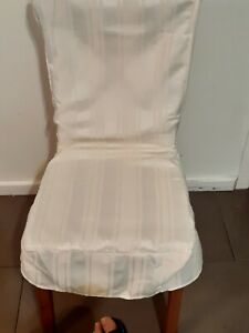 (Set of 3-Cream ) Dining Chair Covers '2 Calico Stripe and 1 Plain'
