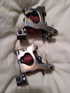 2 TATTOO MACHINE SET BRASS WITH MAROON SCALED COILS NICE