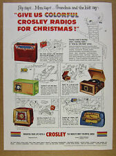 1953 Crosley COLORFUL Clock Radios 5 Models maroon chartreuse blue vintage Ad