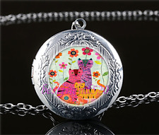 Cat With Flower Photo Cabochon Glass Tibet Silver Locket Pendant Necklace