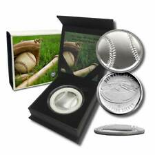 1 - 1 oz .999 Silver Round - Curved Domed 3D Round - Baseball w/Capsule and Box