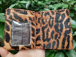 Handmade Real cowhide leather Wallet with faux tiger skin