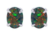 Oval Cut Australian Black Fire Opal Genuine Sterling Silver Stud Earrings