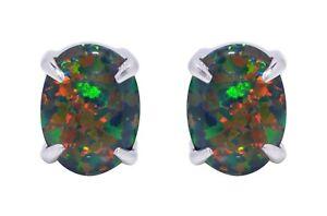 Oval Cut Australian Black Fire Opal Genuine Sterling Silver Stud Earrings