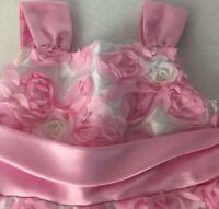 Rare Editions Toddler Dress 3T Easter Roses Pink White Sash Birthday Sleeveless