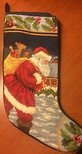 Needlepoint Christmas Stocking Santa Delivering Toys 100% Wool Very Beautiful
