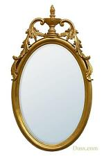 DUSX Antique Gold Gilt Leaf Bevelled Oval Decorative Wall Bedroom Hall Mirror