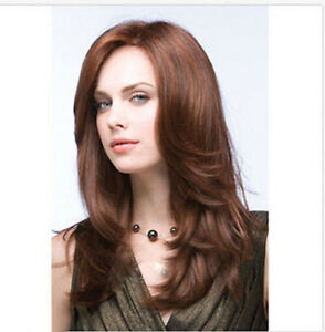 Fashion Long Brown Natural Straight Wavy Women Girl Cosplay Hair Wig Wigs + Cap